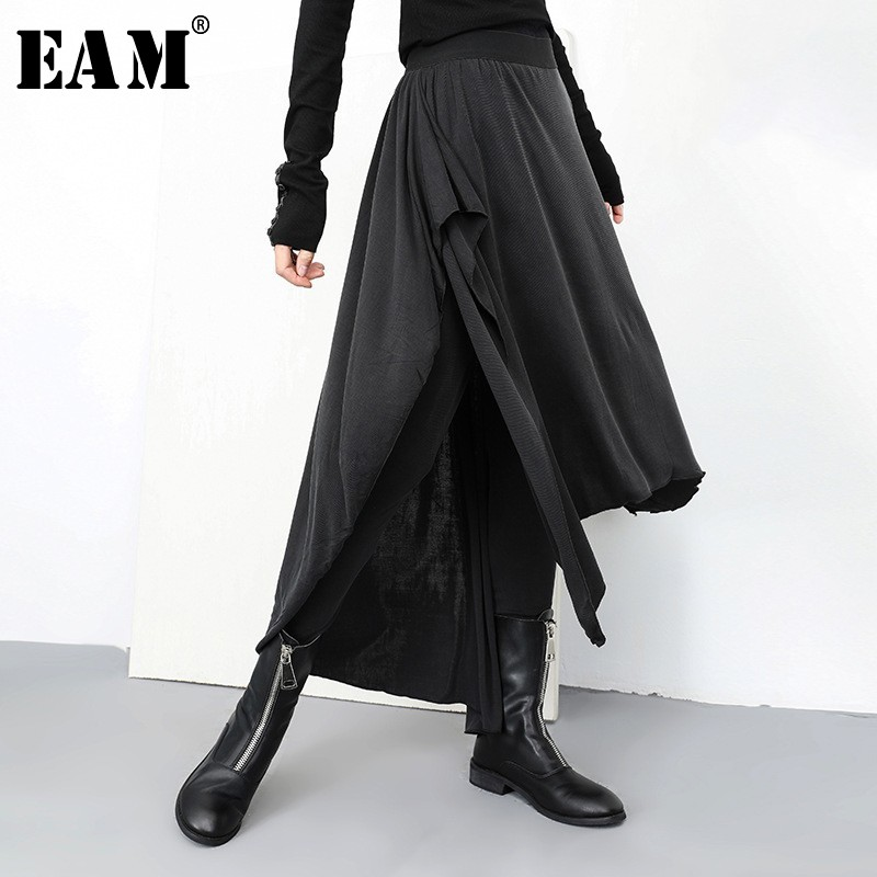 [EAM] 2020 New Autumn Winter High Elastic Waist Loose Black False Two Irregular Stitch Pants Women Trousers Fashion Tide JL932