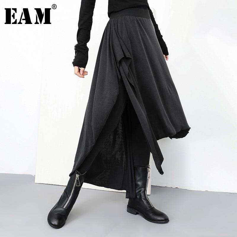 [EAM] 2020 New Spring Autumn High Elastic Waist Loose Black False Two Irregular Stitch Pants Women Trousers Fashion Tide JL932
