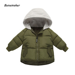 Benemaker 2018 New Winter Cotton Jackets For Girls Boys Children Clothing Thick Coats Overalls Hooded Baby Kids Outerwear JH104