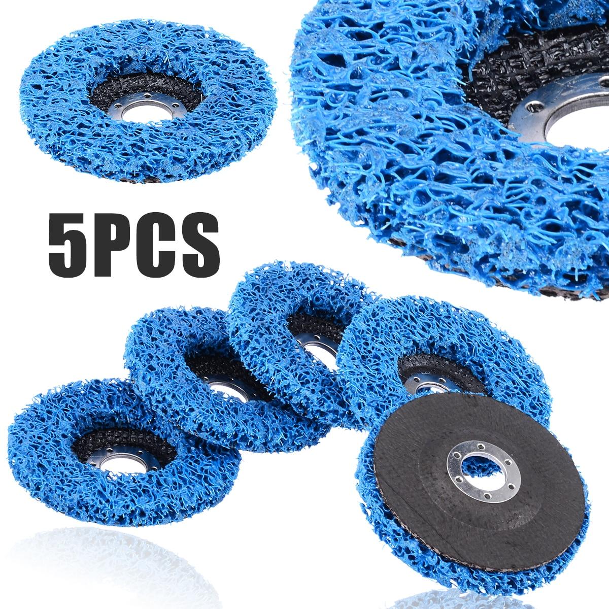 "5Pcs 4.5/"" Poly Strip Grinding Disc Abrasive Polishing Wheel for Metal 7//8/"" Bore"