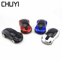 CHUYI Computer Wireless Mouse Car Shaped Optical 3D Mini Mause 1600 DPI 2.4Ghz USB Red Color Gaming Mice For PC Laptop Desktop