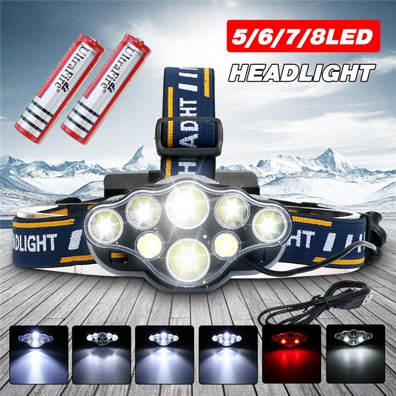6000lm COB lampe frontale à LED 5/6/7/8 LED s phare batterie alimenté lampe torche lampe torche pour Camping lampe lampes de secours