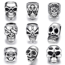 Stainless Steel Skull Beads Metal Spacer Large Hole 8mm Charm Slider DIY Men Bracelet Making Supplies Handmade Jewelry Findings