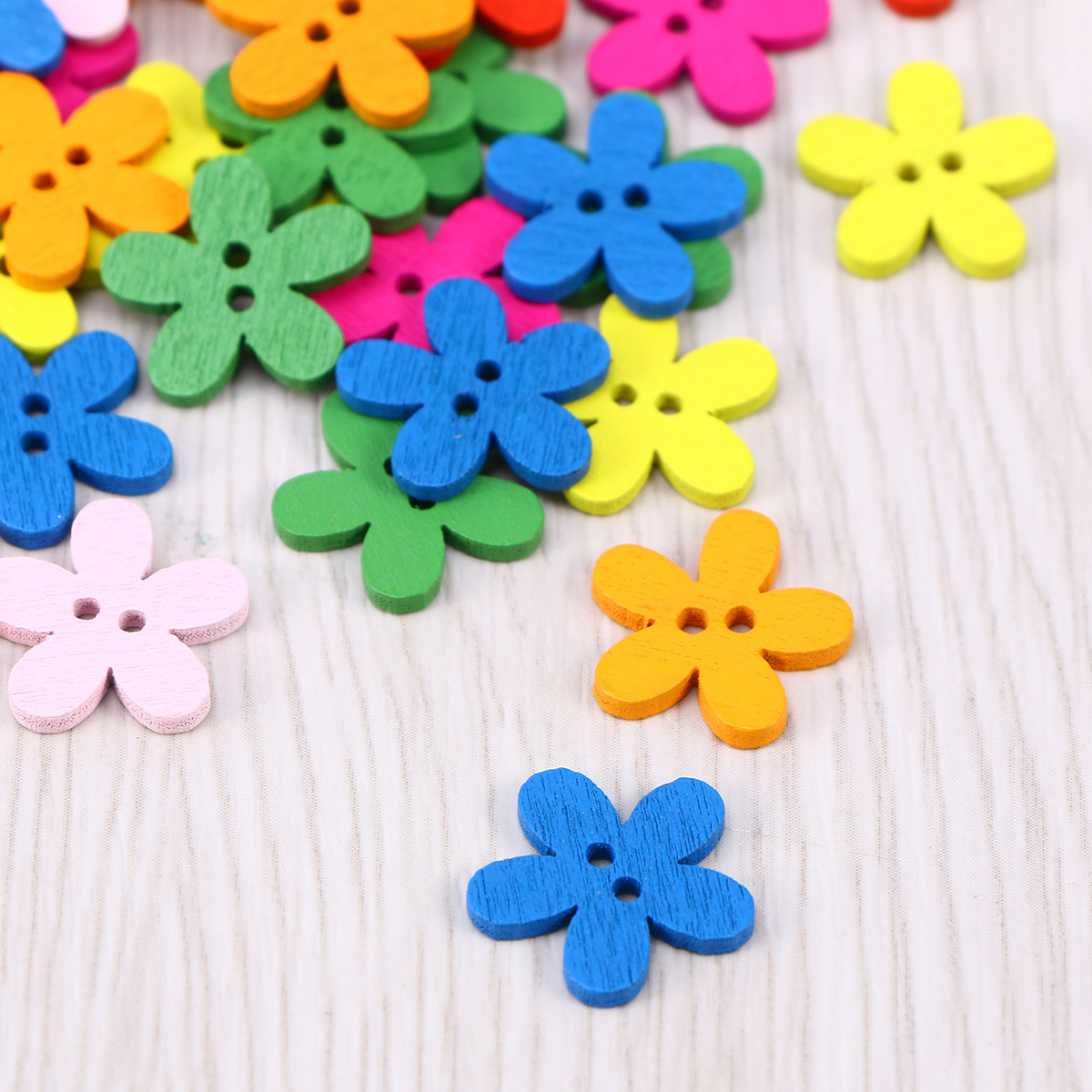 100Pc Cute Small Sunflower Buttons Wooden Buttons Sewing Scrapbooking Crafts