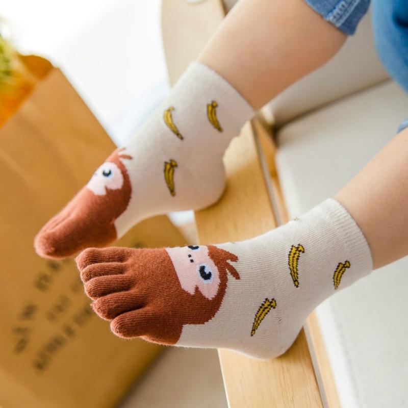 Cute Children Five Finger Socks Cotton Animals Breathable Toe Socks Children Kids Cartoon Four Seasons Socks For 3-7T/7-12T