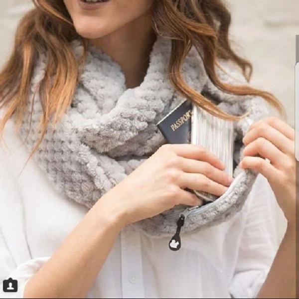 Mode Frauen Winter Unendlichkeit Schal mit Tasche Cabrio Schals Tasche Alle Spiel Reisen Reise Scaves Hohe Qualität