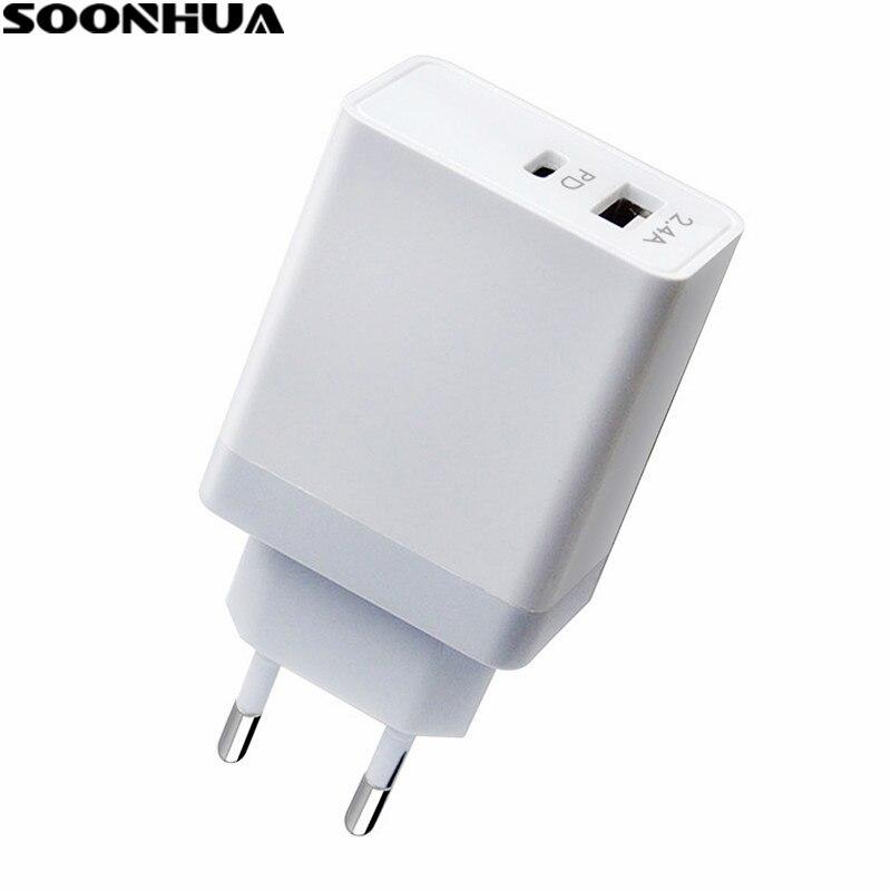 SOONHUA 30 W 2.4A USB Typ-C Wand Ladegerät Power Adapter mit Power Lieferung Für Apple MacBook/iPhoneX /8 Plus Xiaomi