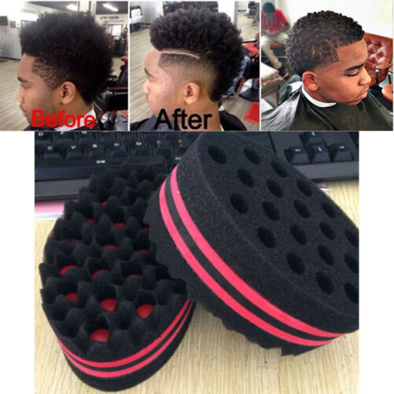 Brilliant Double Sided Barber Hair Brush Sponge Dreads Locking Twist Coil Afro Curl Wave Curling Irons Home Appliances