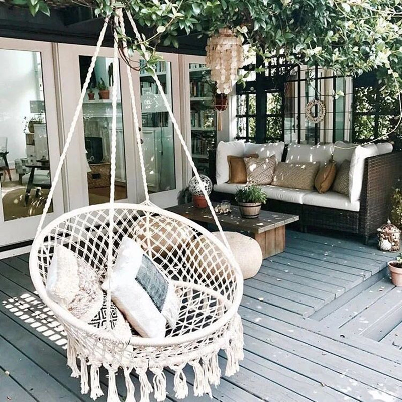 Nordic Handmade Knitted Round Hanging Hammock Outdoor Indoor Dormitory Bedroom Baby Kids Hanging Chair Children Swing Home Decor