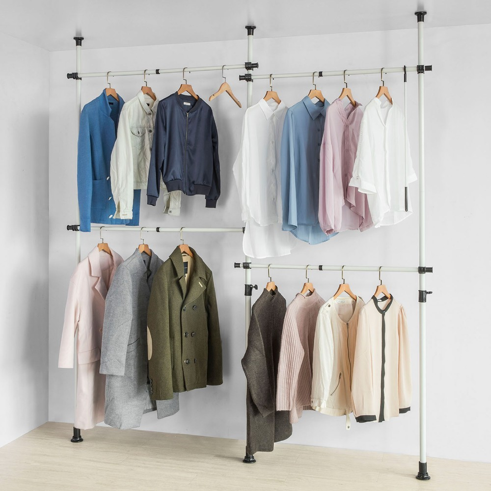 SoBuy KLS03, Adjustable Wardrobe Organiser Clothes Shelf System Hanging Rail Telescopic Storage Shelving