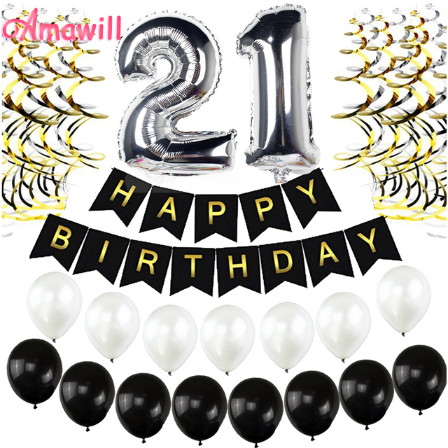 Amawill 21st BIRTHDAY DECORATIONS KIT Happy Birthday For Black Banner Foil Latex Balloons Perfect 21 Years Old Party Supplies 8D