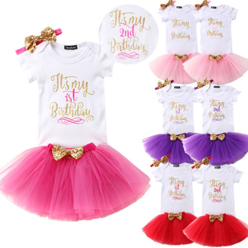 2019 Brand New Baby Girl Kids First Second Birthday Romper