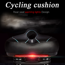 Mountain Road Comfort MTB Seat Mat Cushion Leather Bicycle Memory Foam Padded Bike Seats With Warning Taillights