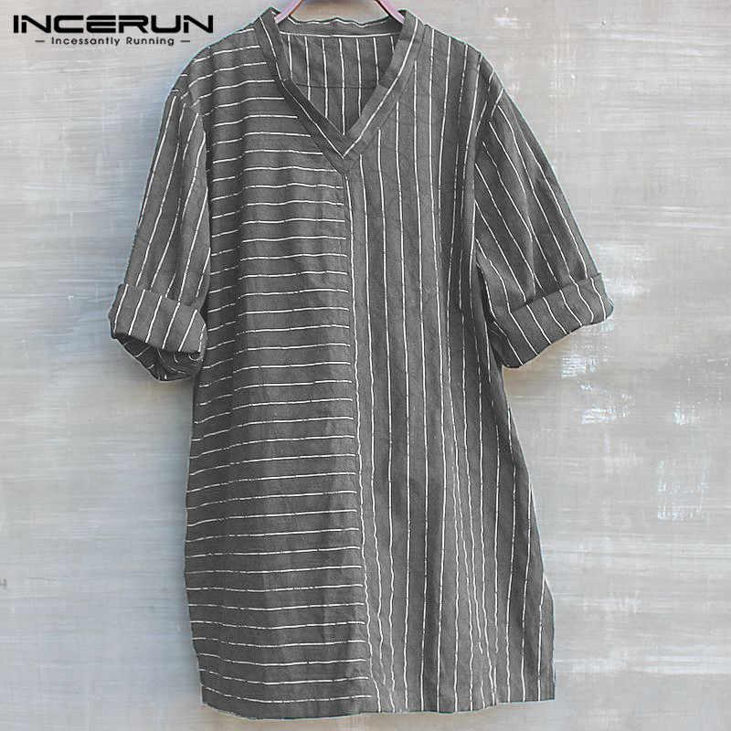 064e941488d ... Boho мужские рубашки хлопок длинные рубашки китайский Тан костюм V шеи 3  4 рукав полосатый ...