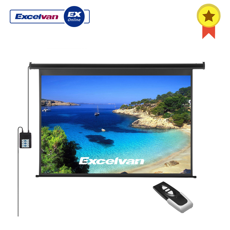 Excelvan Projector-Screen Wall 120inch Electric Motorized with Remote-Control HD 16:9 title=