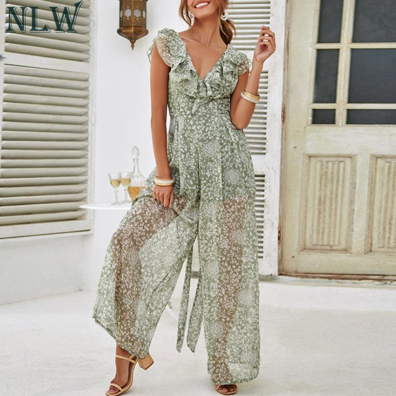 NLW Mesh Backless   Jumpsuit   2019 Print Beach Long Rompers Women Sexy Ruffle V Neck Sash   Jumpsuits   Wide Leg Party Chiffon   Jumpsuit