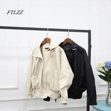 """FTLZZ 2019 Новая модная уличная куртка из искусственной кожи для женщин Повседневное свободные рукав """"летучая мышь"""" промывают Pu кожаные пальт"""