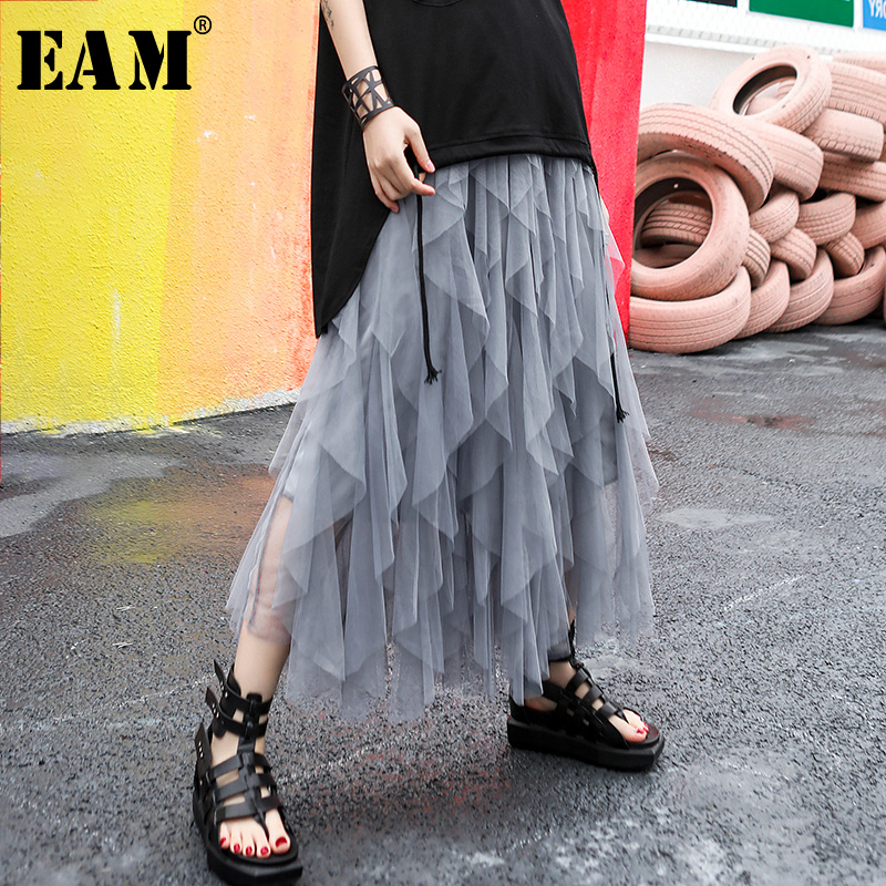 [EAM] 2020 New Spring Summer High Elastic Waist Black Mesh Layers Irreguar Perspective Cake Half-body Skirt Women Fashion JR991