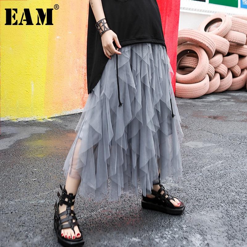 [EAM] 2020 New Spring Summer High Elastic Waist Black Mesh Layers Irreguar Perspective Cake Half-body Skirt Women Fashion JR991