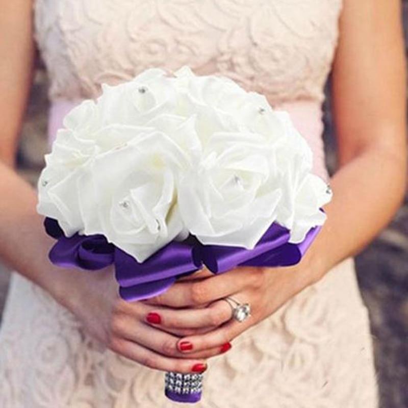 Wedding Bride Holding Flower Romantic Fashion Colorful Foam Flowers Bridal Bouquets PE Rose Bridesmaid Vintage New 2020 D30