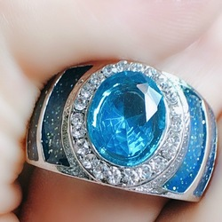 Lüks oval 925 gümüş yüzük 5A zirkon mavi taş cz nişan düğün Band yüzük erkekler kadınlar için takı safir taş halka