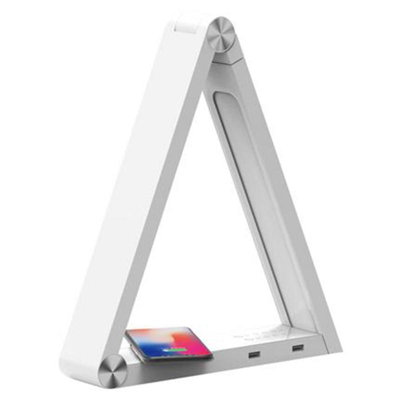 Lampe de bureau de charge sans fil Triangle de LED lampe de Table Rechargeable Standard de lueLampe de bureau de charge sans fil Triangle de LED lampe de Table Rechargeable Standard de lue