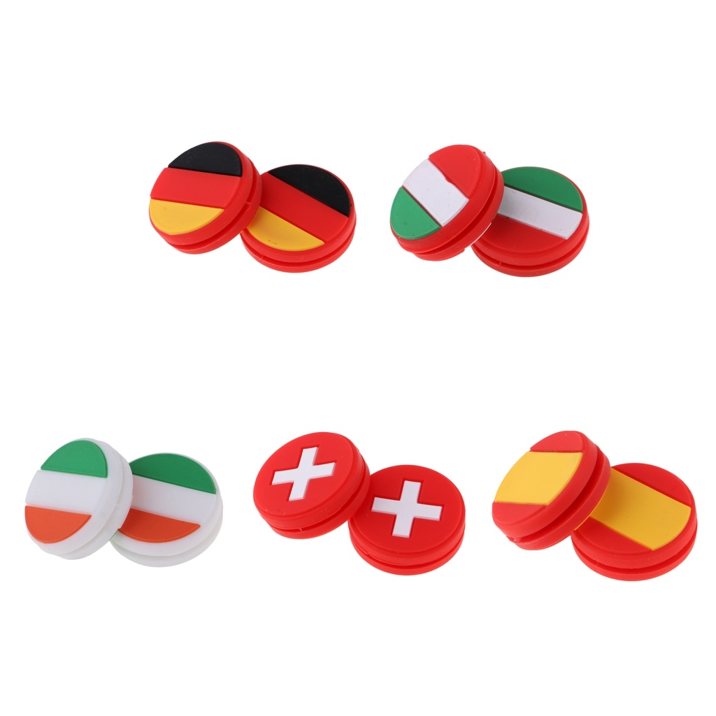 2Pcs/Pack National Flag Tennis Racket Shock Absorber Racquet Vibration Dampeners Shockproof Dampers Sports Accessories
