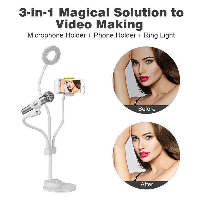 3 in 1 Magical solution to video making   phone holder ring  light, mobile fill light, mobile phone  fill light bracket3 in 1 Magical solution to video making   phone holder ring  light, mobile fill light, mobile phone  fill light bracket