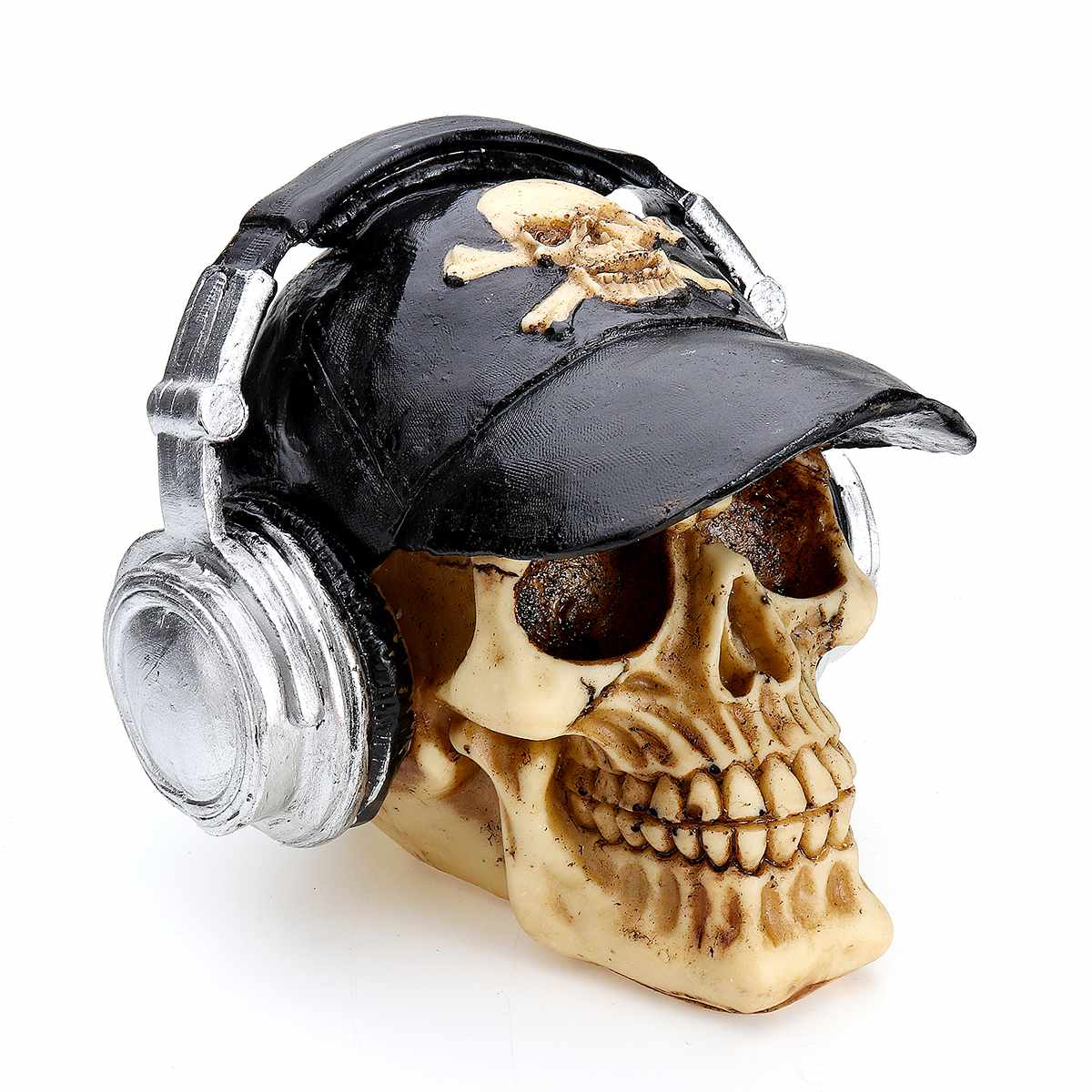 Resin Craft Statues For Decoration Skull With Headphone Skull Figurines Sculpture Home Decoration Accessories
