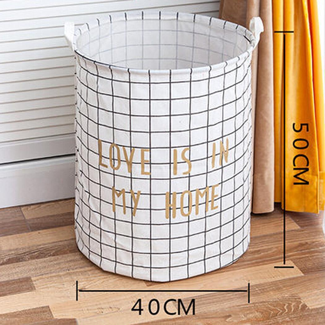 New Clothes Storage Round Bin with Handles for Baby Nursery Box to Hold Baby Clothes Box Blankets Towels Indoor