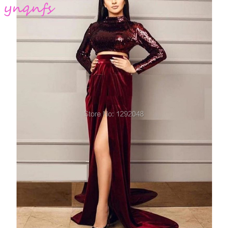 Weddings & Events Ynqnfs E40 Vestido De Festa Bling Sequin High Neck Long Sleeve High Slit Two Piece Burgundy Velvet Evening Dress 2019