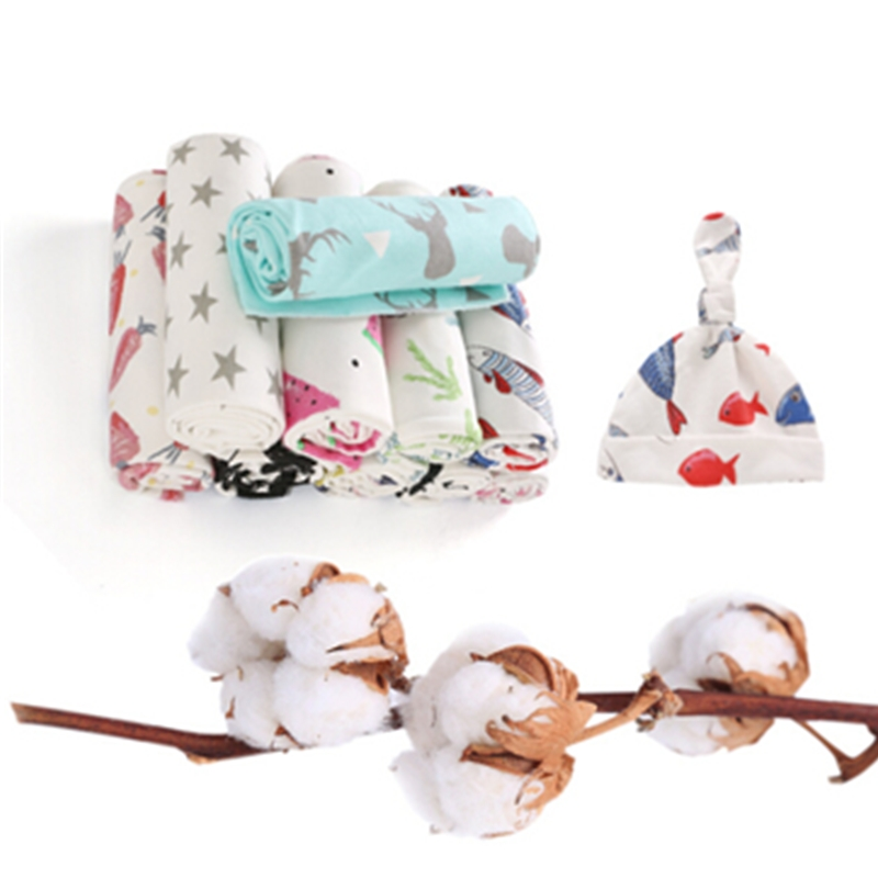 Infant Newborn Print Cotton Blanket Swaddle Cloth +Hats Cap 2Pcs Kids Toddler Sleeping Bedding Blankets Wrap Swadding Shawl Set