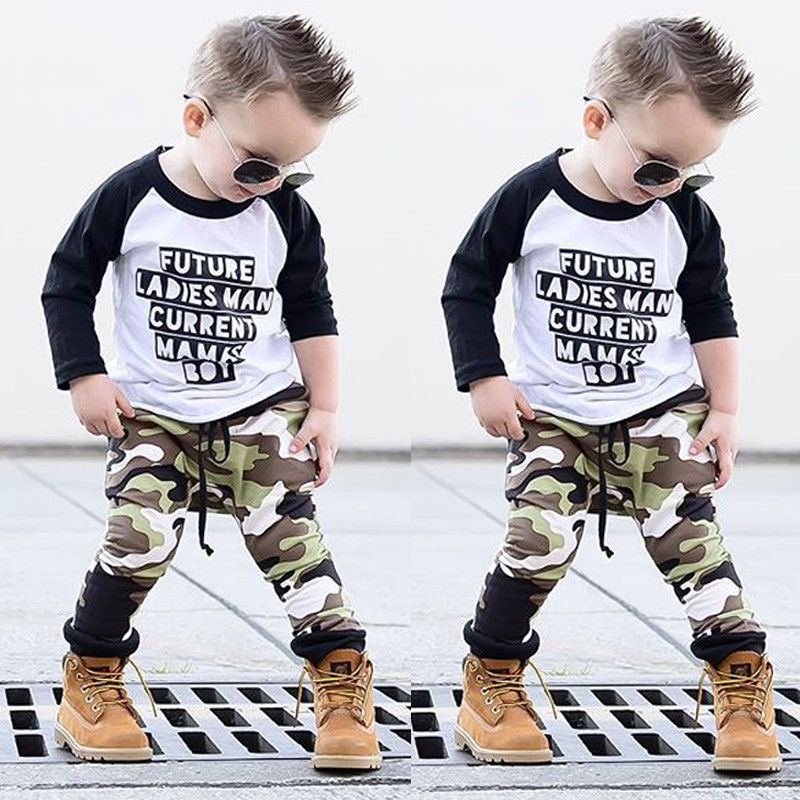 Toddler Kids Baby Boy Camo Outfits Clothes T-shirt Tops+Pants Trousers 2PCS Set