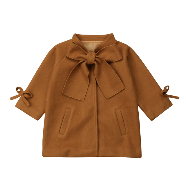2019 Multitrust Brand Toddler Kids Baby Girls Warm Wool Bowknot Coat Overcoat Outwear Jacket Parka Brown Autumn Winter Top