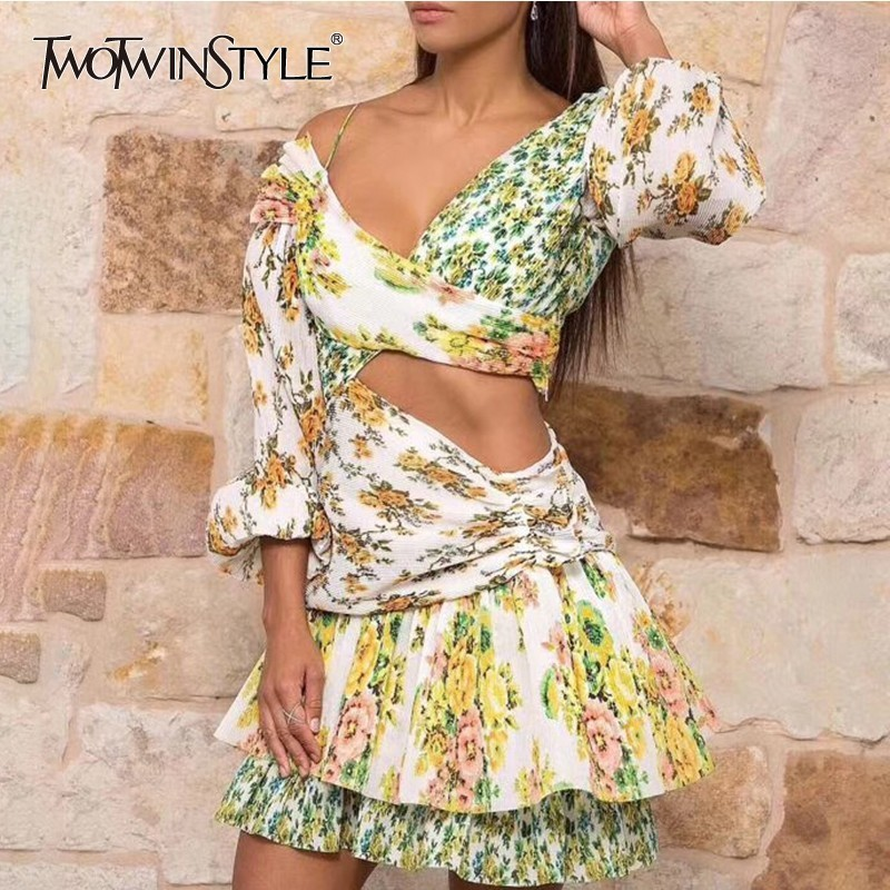 TWOTWINSTYLE Print Dresses Female Off Shoulder Lantern Long Sleeve Hollow Out Irregular Mini Dress For Women