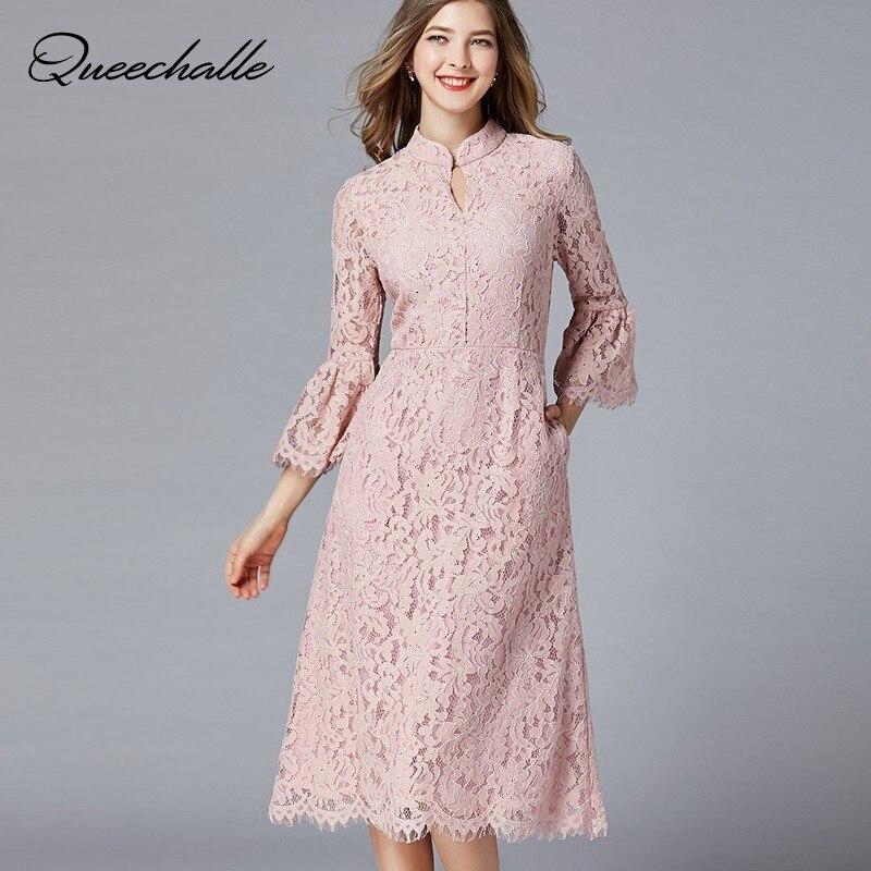 L 5XL Plus Size Dress Women Vintage Stand Collar Elegant Lace Dress Pink Hollow 3 4