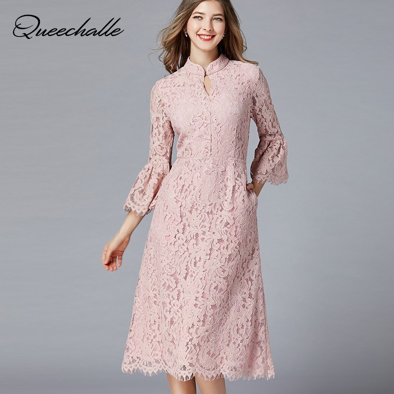 L 5XL Plus Size Dress Women Vintage Stand Collar Elegant Lace Dress Pink Hollow 3/4 Flare Sleeve Fit & Flare Midi Dress Party