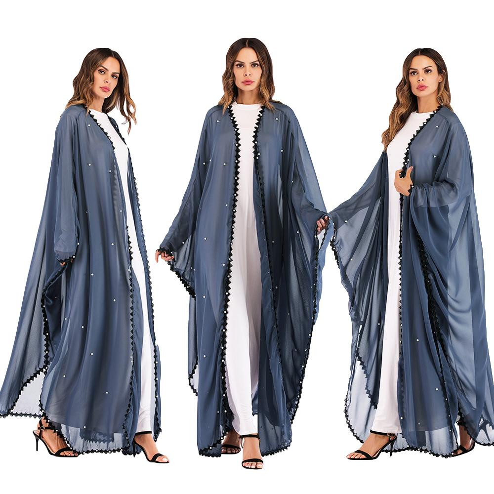 Women Muslim Maxi Gown Abaya Open Cardigan With Pearls Loose Maxi Lace Patchwork Long Dress Middle