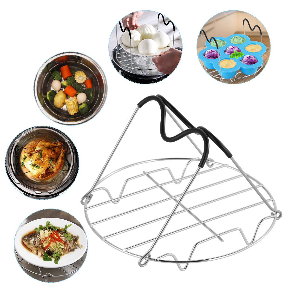 Steamer Rack Heat Resistant Silicone Handles Steaming Rack Trivet Stand For Pressure Cooker Compatible With 6 & 8 QT Accessories