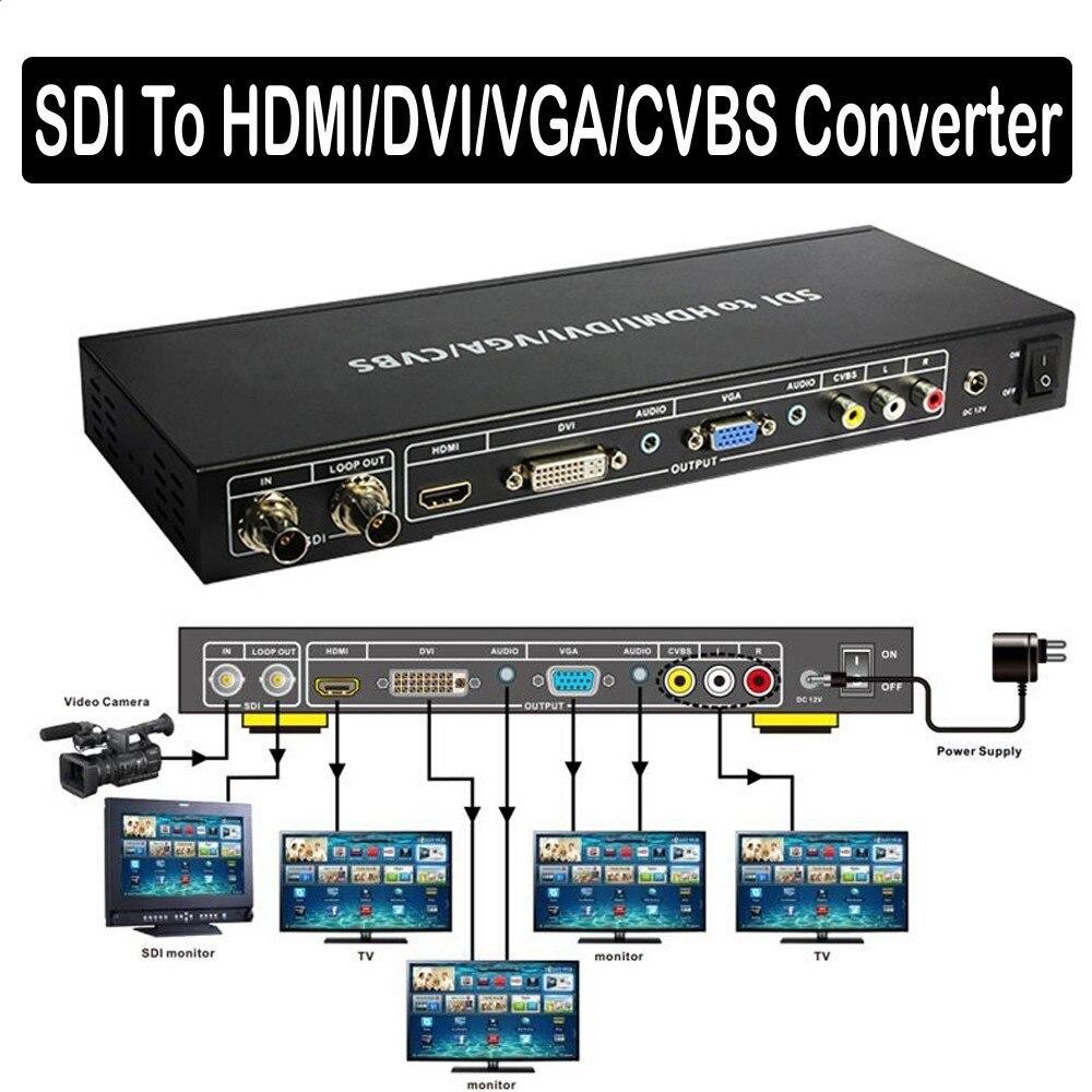 3G SDI to ALL Scaler Converter Loop Out allows SDI To DVI VGA HDMI CVBS Composite port display Analog Audio Extractor Extender