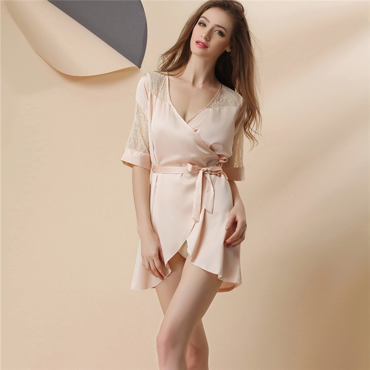 Newest Women Nightwear Nightdress Sexy Lingerie Faux Silk Lace Spaghetti Strap One Size   Nightgowns     Sleepshirts   Women Sleepwear