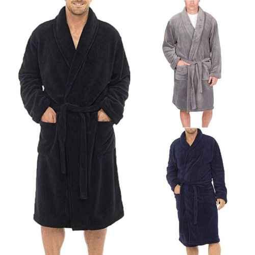 Мужские длинные домашние пижамы Халаты шаль воротник флис Халат Спа платье кимоно черный синий серый