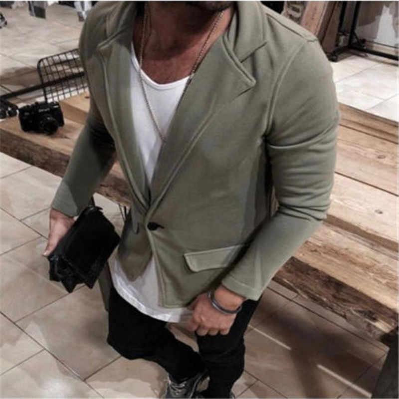 2018 חדש סגנון אופנה מוצק כפתור של גברים מקרית Slim Fit כפתור אחד חליפה בלייזר עסקים לעבוד מעיל להאריך ימים יותר