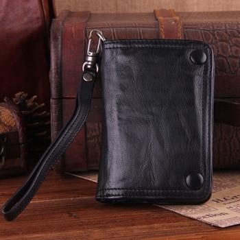 Мужской кошелек из натуральной кожи ручной работы, винтажный складной кошелек из овчины