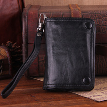 New Handmade Men wallet Men Genuine leather wallet Vintage fold the first layer of sheepskin long section custom hand purse three fold wallet long section of new leather embossed clutch bag purse ms bb055