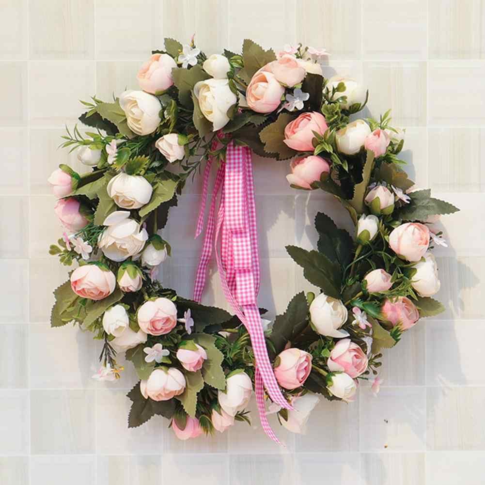 Искусственный имитировать Рождество шелк Розовый венок для Свадебная мебель Декор