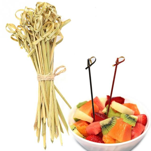 100 Pcs Creative 13 cm Food Cocktail Sandwich Fork Stick Skewer Bamboo Knot Skewers Cocktail Sticks Canape Buffet Tableware