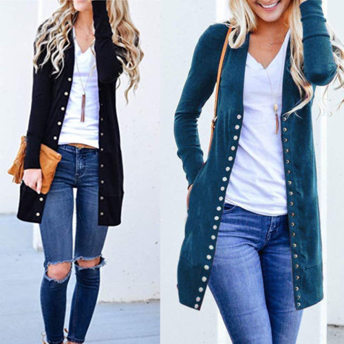 Autumn Long Jacket Coat Women Ladies Long Sleeve Slim Knitted Cardigan Outwear