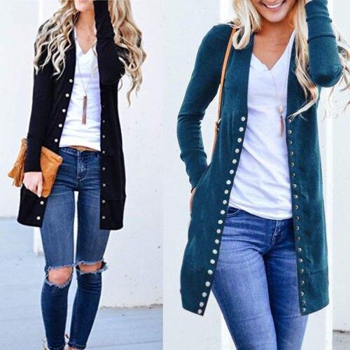 סתיו ארוך מעיל מעיל נשים גבירותיי ארוך שרוול Slim סרוג קרדיגן להאריך ימים יותר