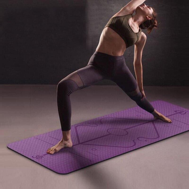 6MM TPE Yoga Mat With Position Line Non Slip Carpet Mat High Density For Beginner Environmental Fitness Gymnastic Mat 183cmX61cm